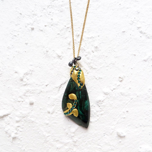Malachite Pendant Necklace Nature Leaves Gold Chain