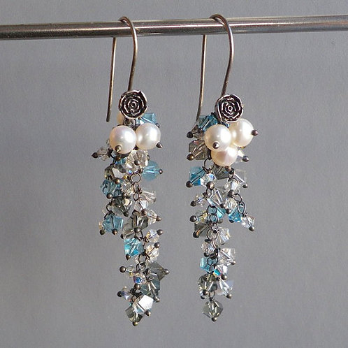 Ice Crystals Silver Rose Flower Asymmetrical Dangle Earrings
