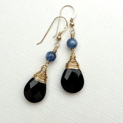 Black Onyx Blue Kyanite Gold Earrings