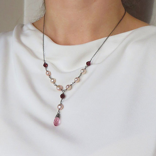 Rose Garnet Crystal Peach Pearl Black Silver Necklace