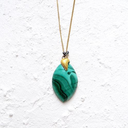 Malachite Pendant Necklace Natural Stone Gold Chain