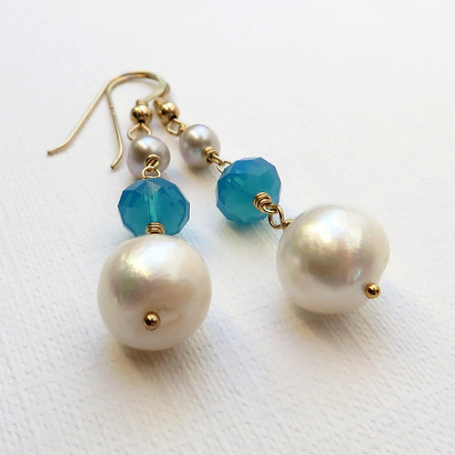 Pearls and Blue Opal Crystal Gold Earrings
