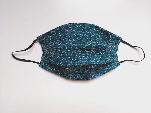 100% Cotton Washable Face Mask Teal Waves Japanese Cotton Handmade in UK
