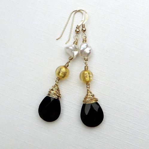Black Onyx Keishi Pearls Murano Gold Earrings