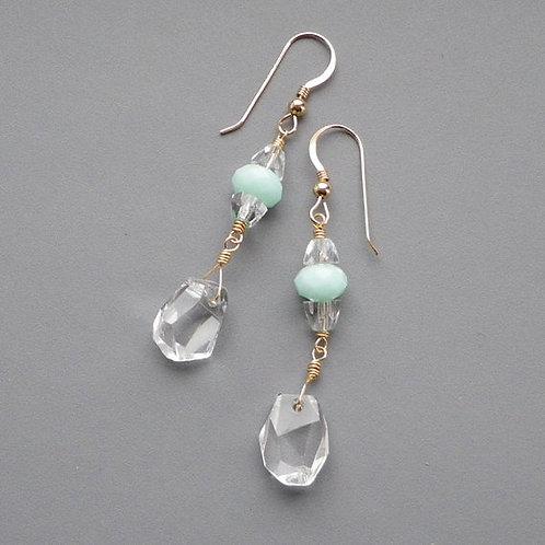 Rock Crystal Pastel Mint Gold Earrings