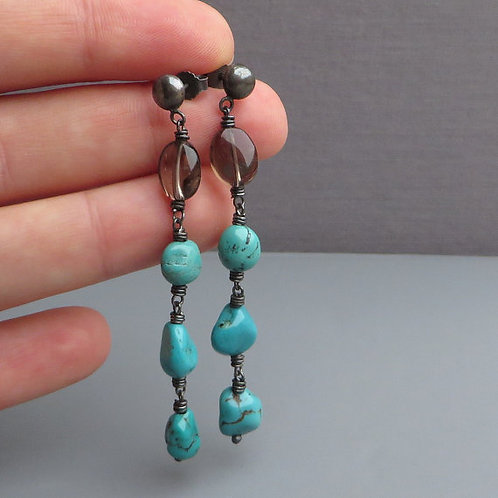 Natural Turquoise and Smoky Quartz Earrings