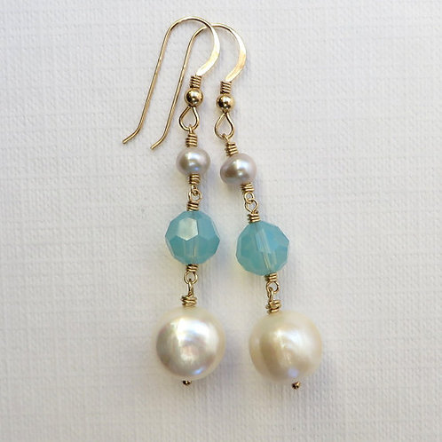 Baroque White Pearls Opal Crystal 14k Gold Filled Earrings