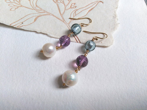 Large White Pearl Amethyst and Murano 14k Gold Filled Dangle Earrings