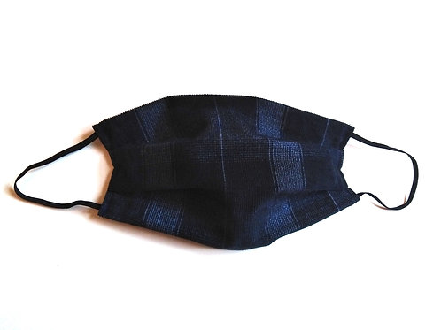 Blue Check Cotton Face Mask, Reusable Washable Filter Pocket Nose Wire