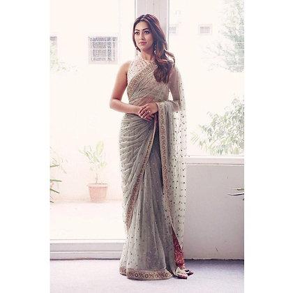 Designer Grey Color Net Saree