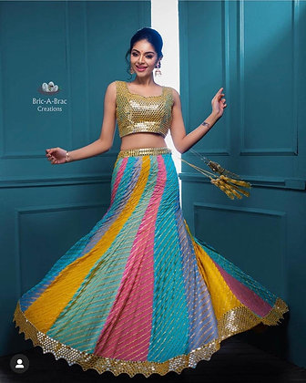 Heavy GEORGETTE embroidery Sequence work Multi Color lehenga choli Indian Wear