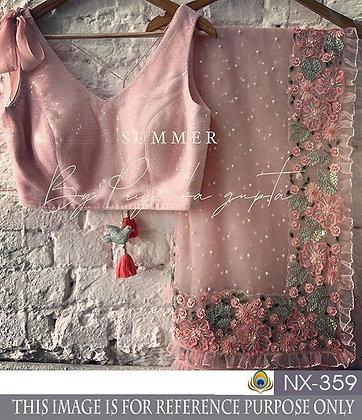 Pink Net Saree Heavy Designer Net Saree Pink Saree Indian Wedding Wear Saree Bri