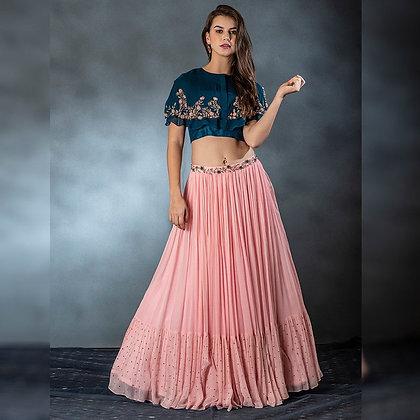 Designer Peach lehenga choli for women party wear Bollywood lengha Choli