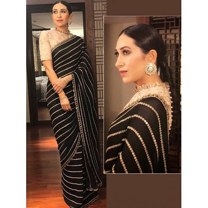 Black bemberg georgette fancy thread and sequence worked partywear saree