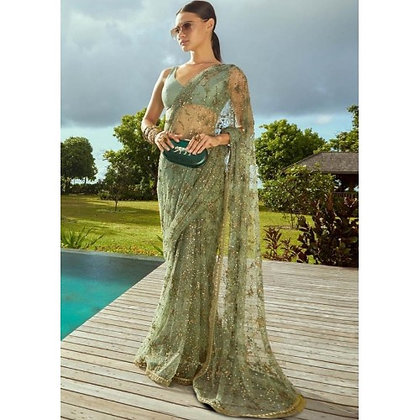 Pista green mono net fancy thread and sequence worked wedding saree