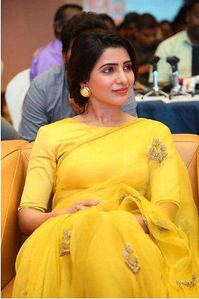 Samantha Bollywood designer sarees for women,celebrity inspired Organza fabric
