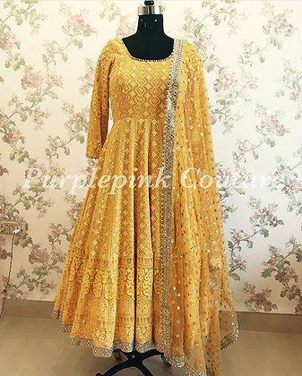 GEORGETTE WITH HEAVY EMBROIDERY WORK WITH MOTI LLES BODAR