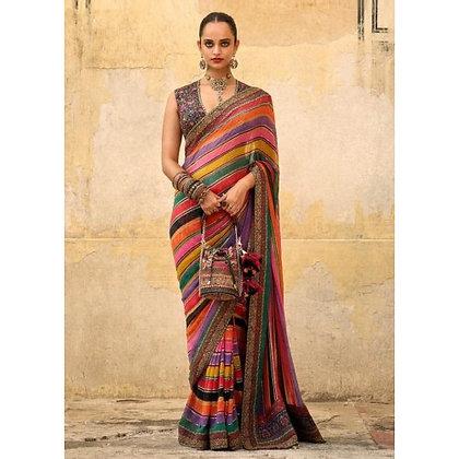Multicolor strip chinon silk designer wedding saree