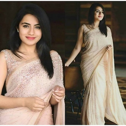 Peach georgette pearl and sequence worked saree