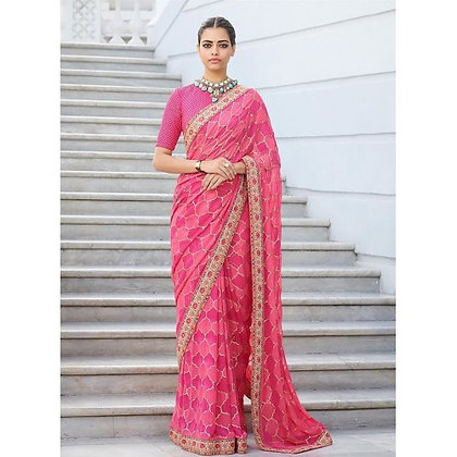 Pink chinon silk digital printed designer saree