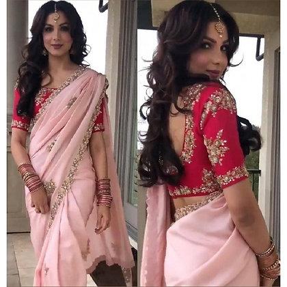 Baby pink georgette embroidered wedding saree