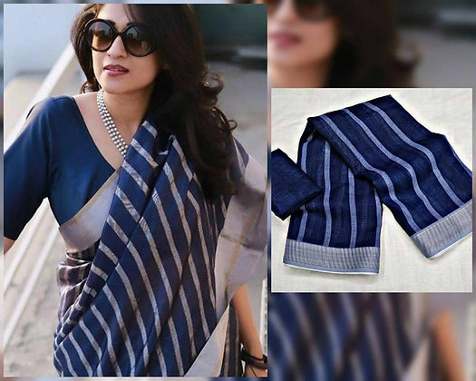 Pure Linen silver jari patta with blouse Party wear Blue saree blouse