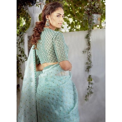Light sea green sequence embroidery designer organza saree