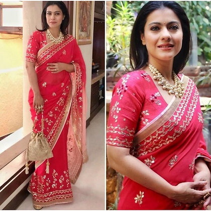 Red georgette embroidered bollywood saree