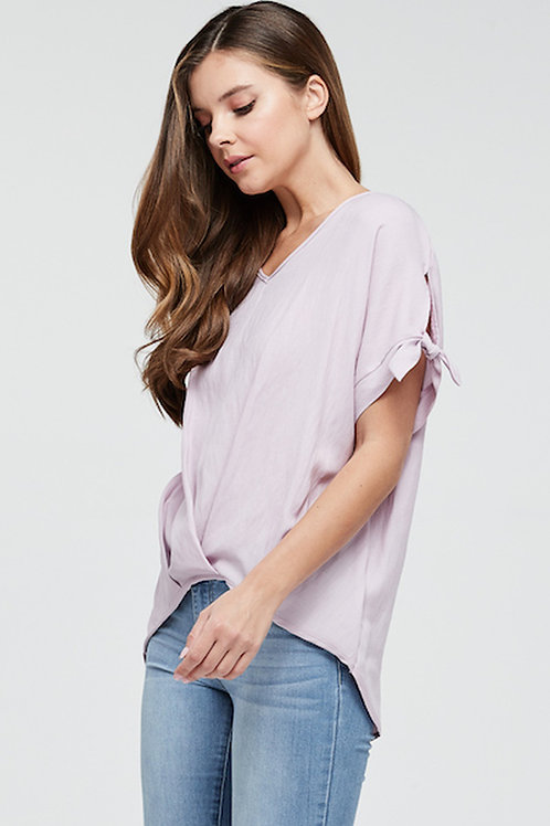 Lilac Top With Tie Sleeve