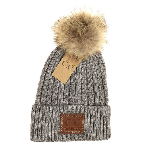 Double Braided Knit Faux Fur Pom Beanie