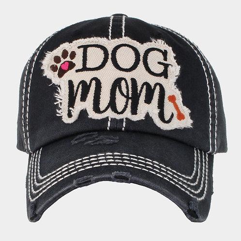 """Dog Mom"" Washed Vintage Ballcap"