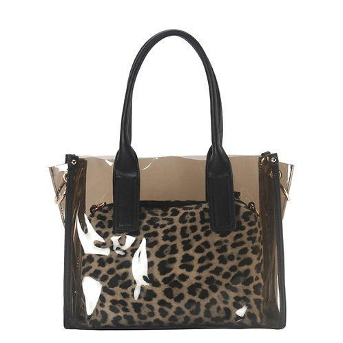 Clear Handbag w/Leopard Bag
