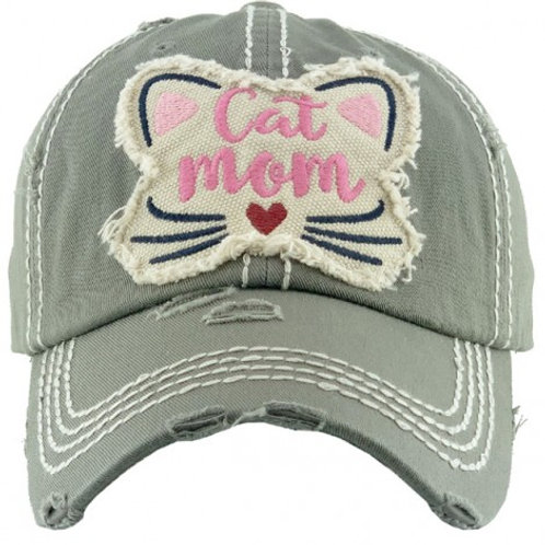 """Cat Mom"" Washed Vintage Ball Cap"