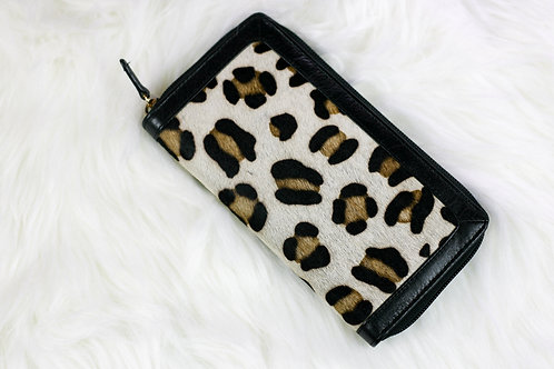 Leopard Print Cowhide Wallet Leather