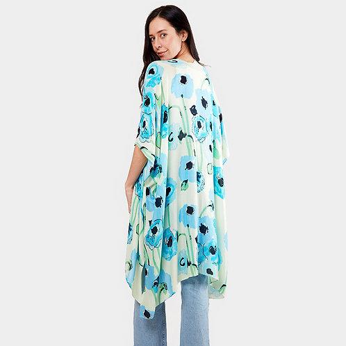 Flower Print Kimono Poncho