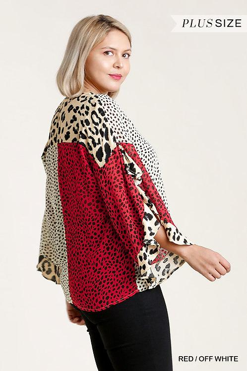 Sheer Ruffled Sleeve Plus Size Top