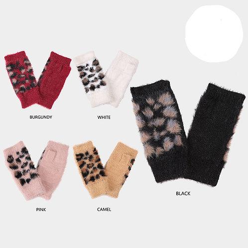 Leopard Pattern Fingerless Mitten Gloves