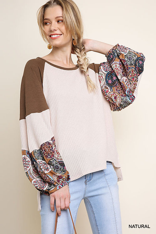 Notice Me - Waffle Knit Top with Floral Print Puff Sleeves