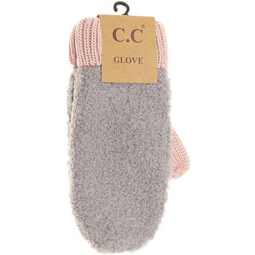 Color Block Sherpa Knit Mitten