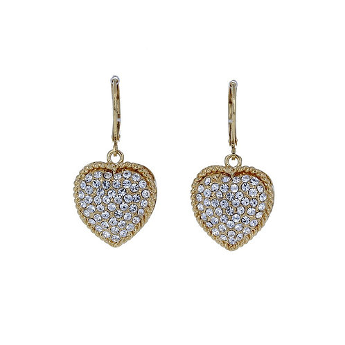Dangle Heart Earrings With Swarovski Crystals