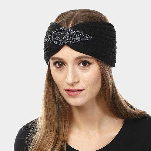 Bead Flower Knit Earmuff Headband