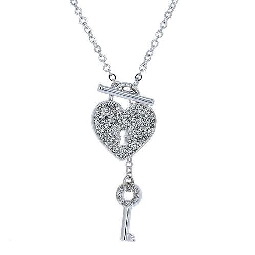 Swarovski Crystal Key & Heart Necklace