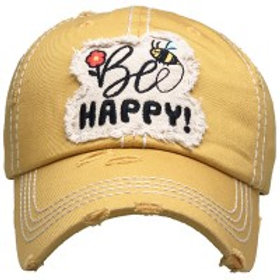 """""""Be Happy""""  Washed Vintage Ball Cap"""