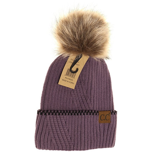 Ribbed Knit Beanie with Accented Cuff