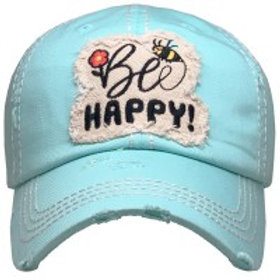 """Be Happy""  Washed Vintage Ball Cap"