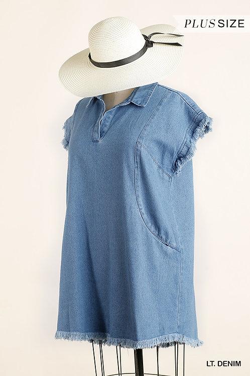 Plus Size Denim Dress with Pockets