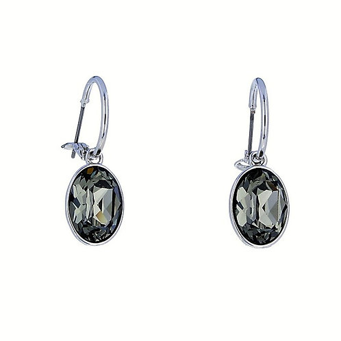 Dangle Oval Earrings With Swarovski Crystals