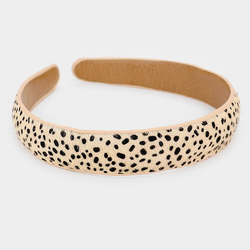 Cheetah Pattern Genuine Leather Headband