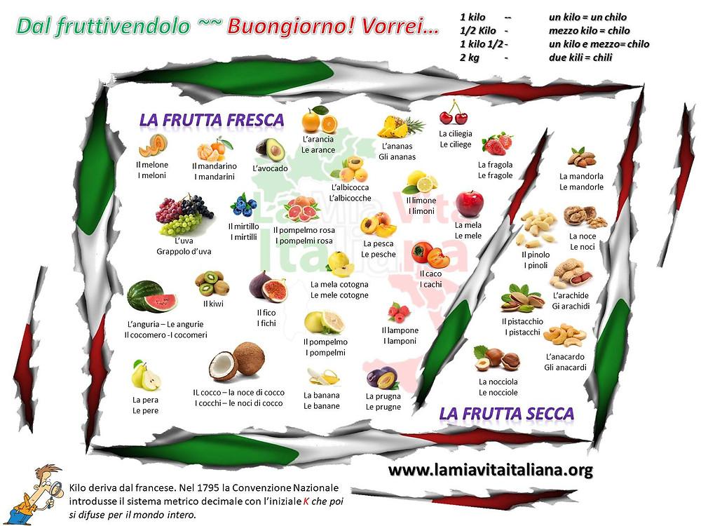 dal fruttivendolo - frutta fresca frutta secca - la fruta en italiano