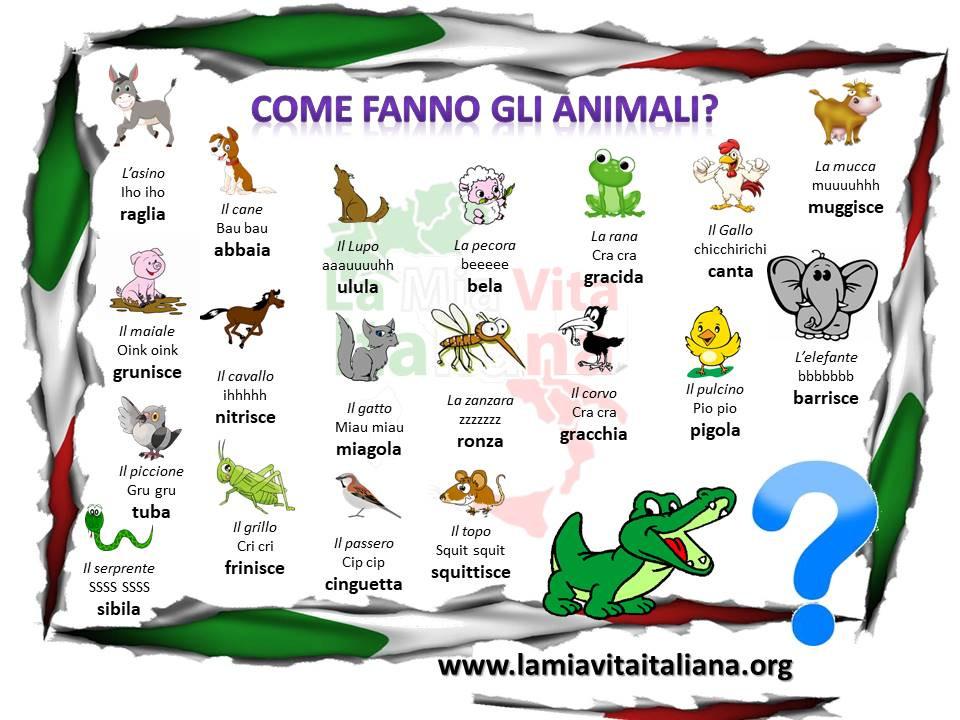 ¿Cómo hace los animales en italiano?